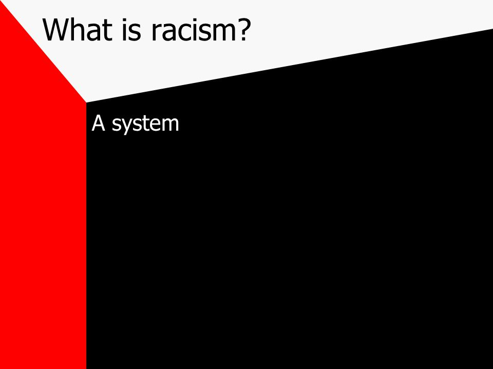 What is racism A system
