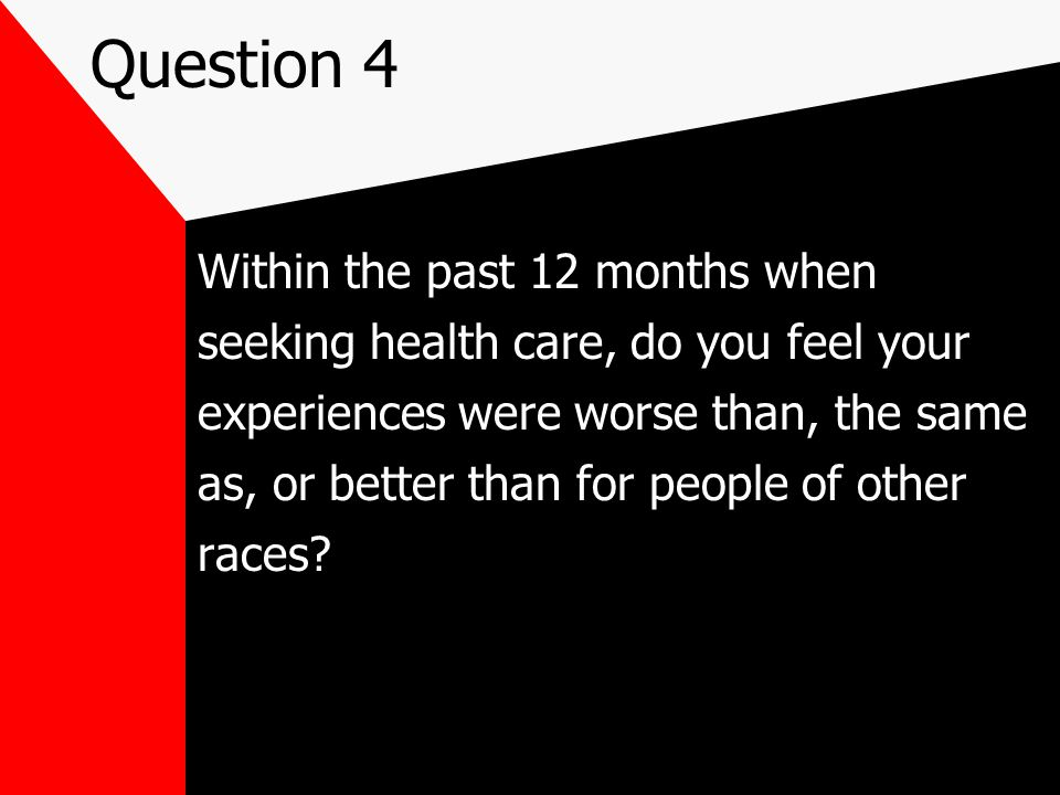 Question 4 Within the past 12 months when seeking health care, do you feel your experiences were worse than, the same as, or better than for people of other races