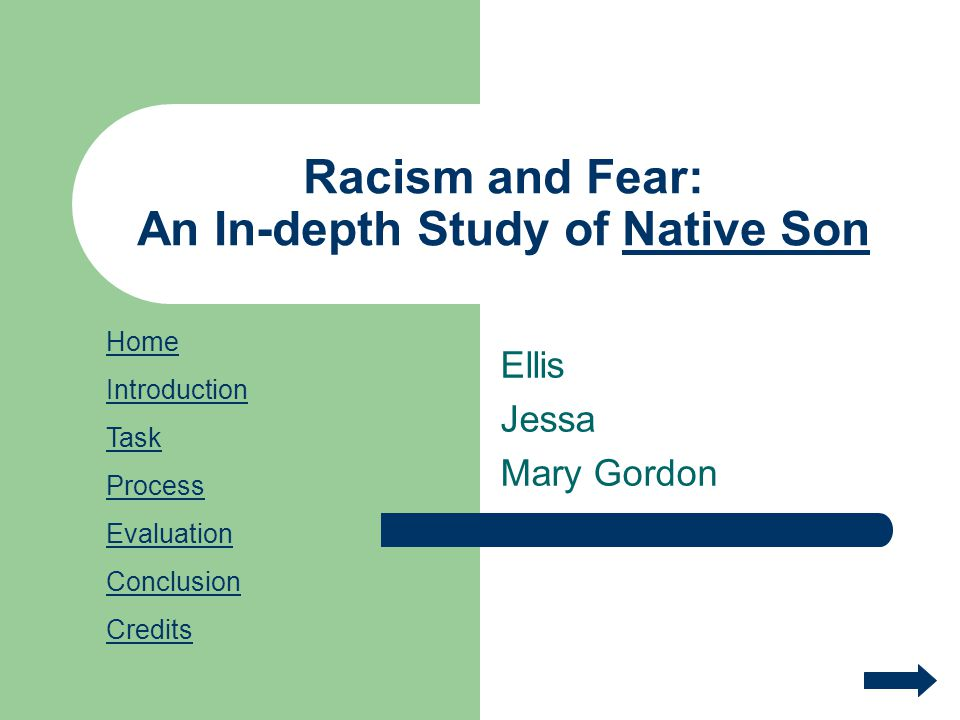 Racism and Fear: An In-depth Study of Native Son Ellis Jessa Mary Gordon Home Introduction Task Process Evaluation Conclusion Credits