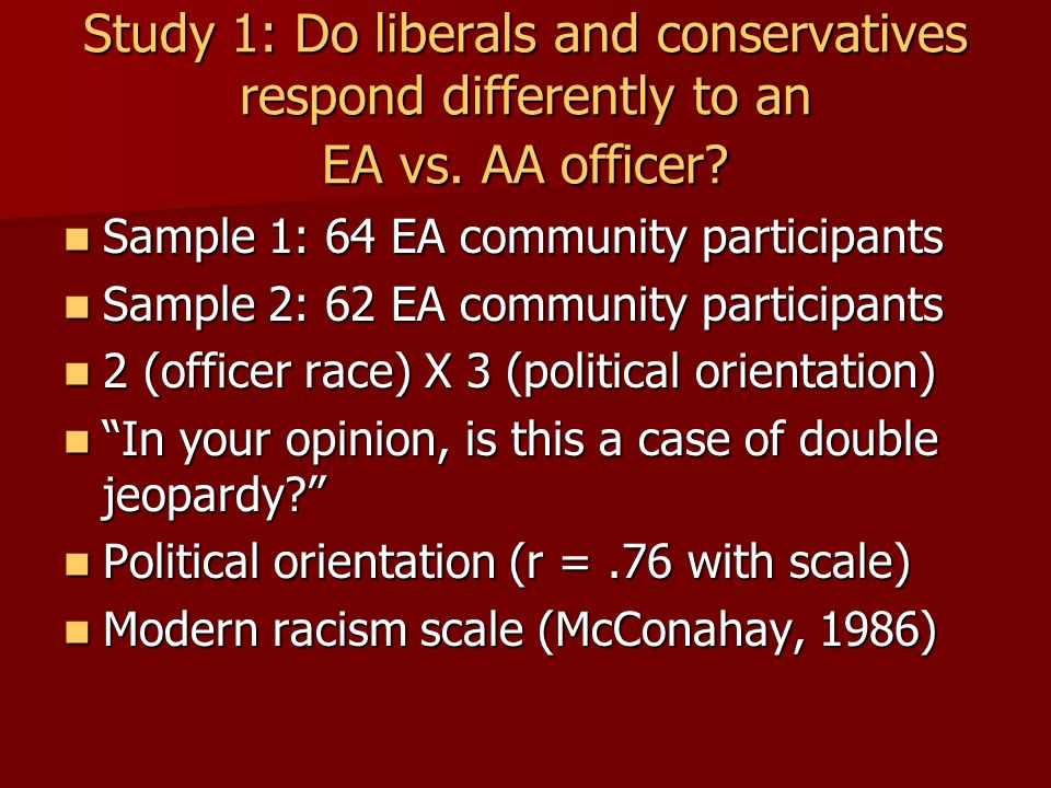 Study 1: Do liberals and conservatives respond differently to an EA vs.