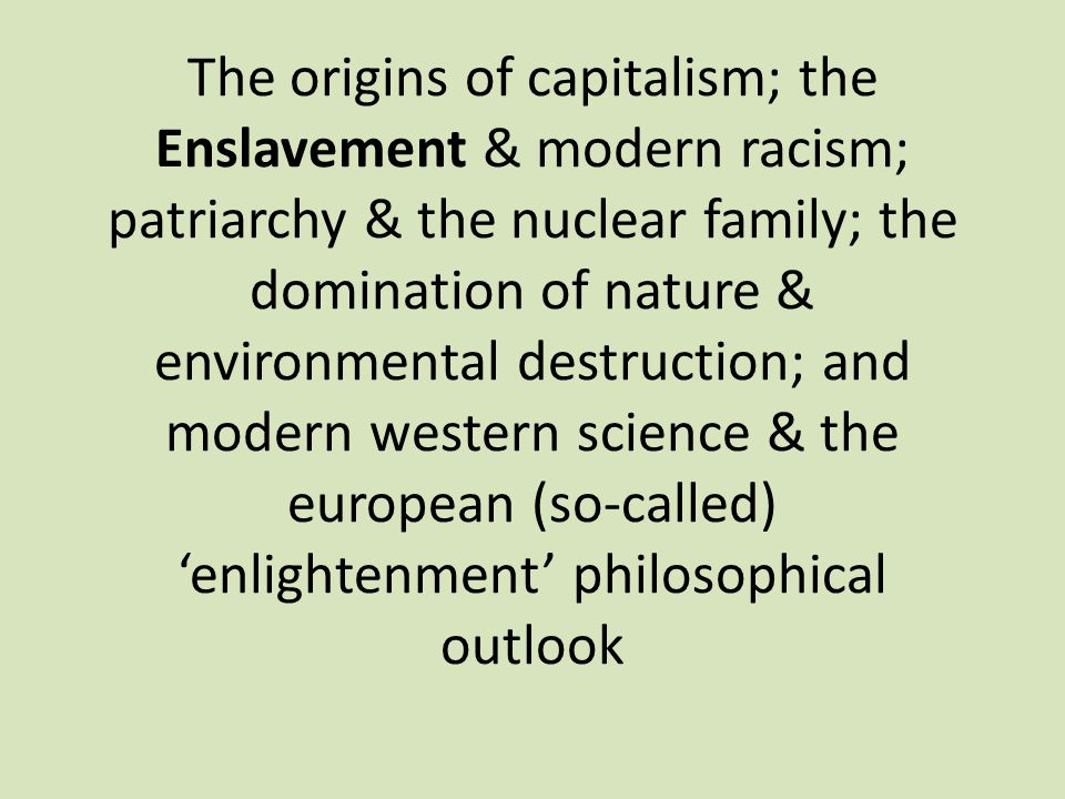 The origins of capitalism; the Enslavement & modern racism; patriarchy & the nuclear family; the domination of nature & environmental destruction; and