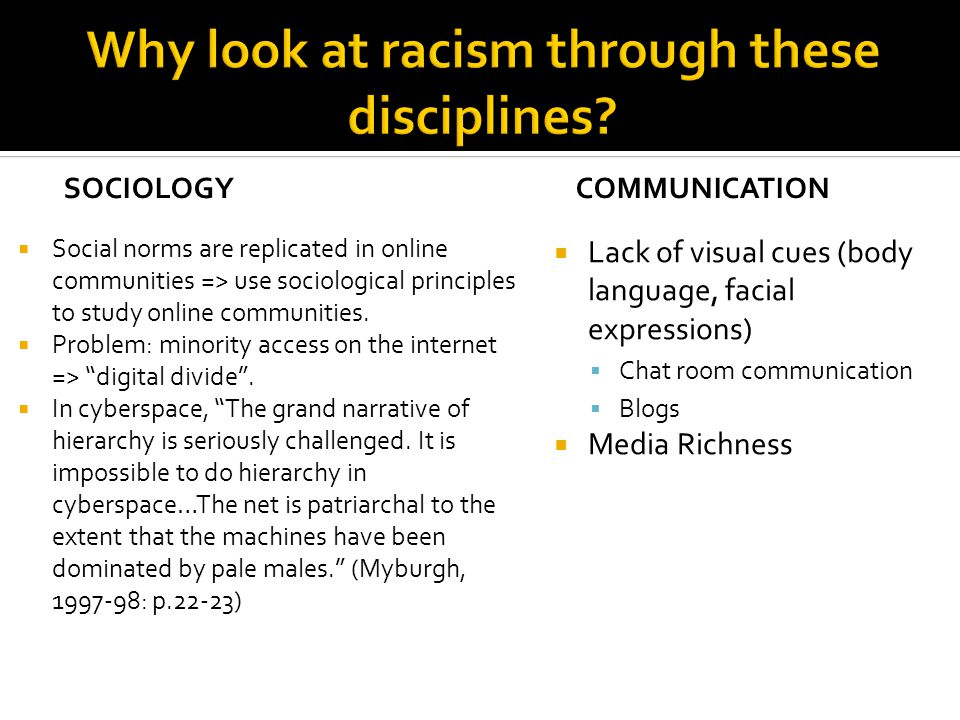 SOCIOLOGY  Social norms are replicated in online communities => use sociological principles to study online communities.