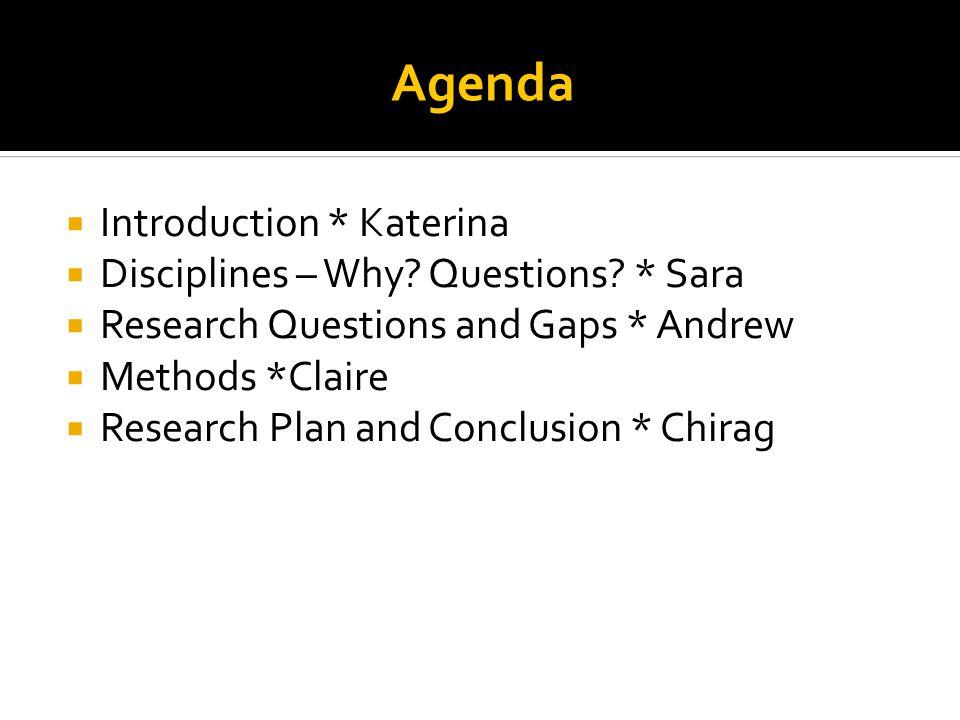 Agenda  Introduction * Katerina  Disciplines – Why.