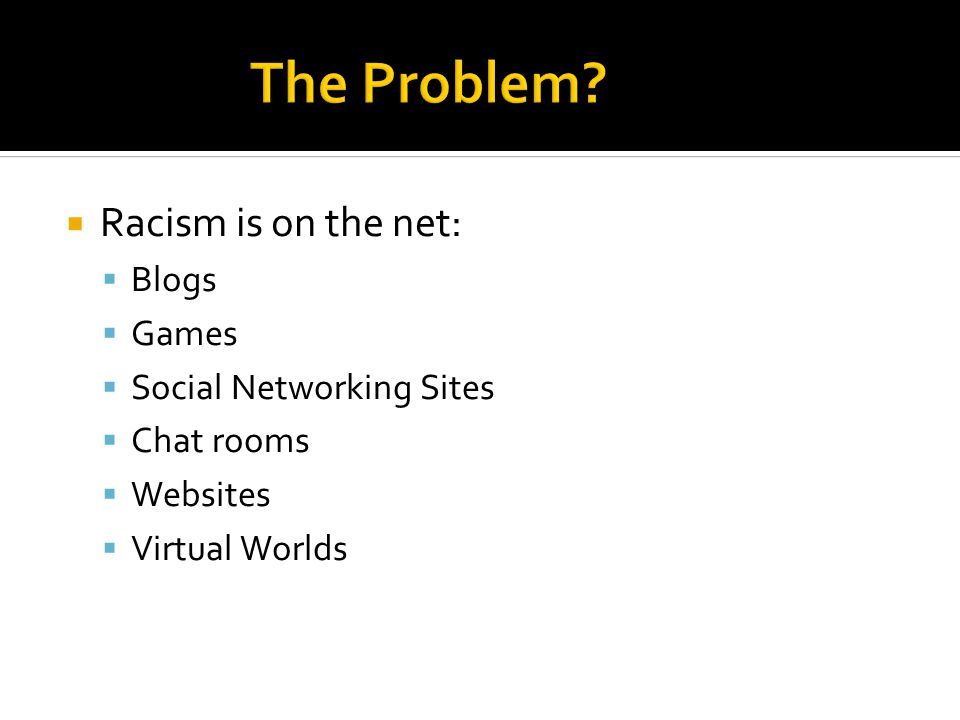  Racism is on the net:  Blogs  Games  Social Networking Sites  Chat rooms  Websites  Virtual Worlds