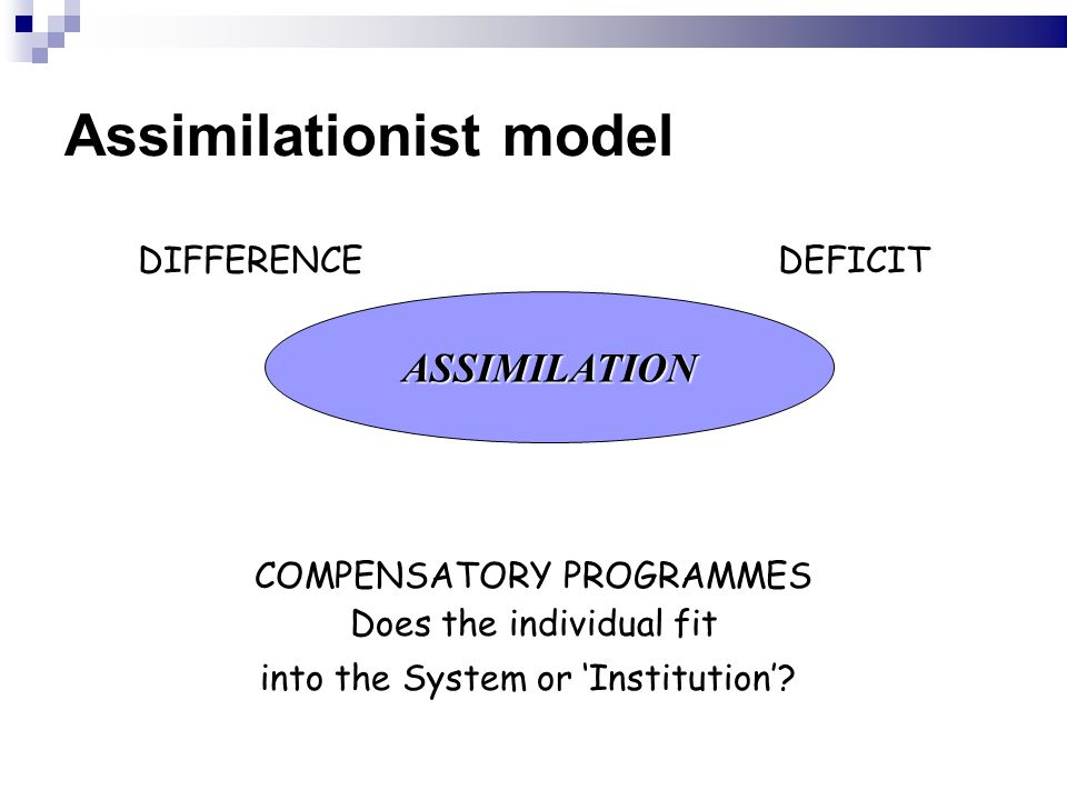 Assimilationist model DIFFERENCEDEFICIT COMPENSATORY PROGRAMMES Does the individual fit into the System or 'Institution'.