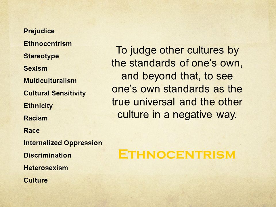 Prejudice Ethnocentrism Stereotype Sexism Multiculturalism Cultural Sensitivity Ethnicity Racism Race Internalized Oppression Discrimination Heterosex