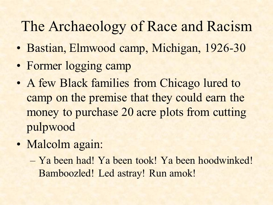 The Archaeology of Race and Racism Bastian, Elmwood camp, Michigan, 1926-30 Former logging camp A few Black families from Chicago lured to camp on the premise that they could earn the money to purchase 20 acre plots from cutting pulpwood Malcolm again: –Ya been had.