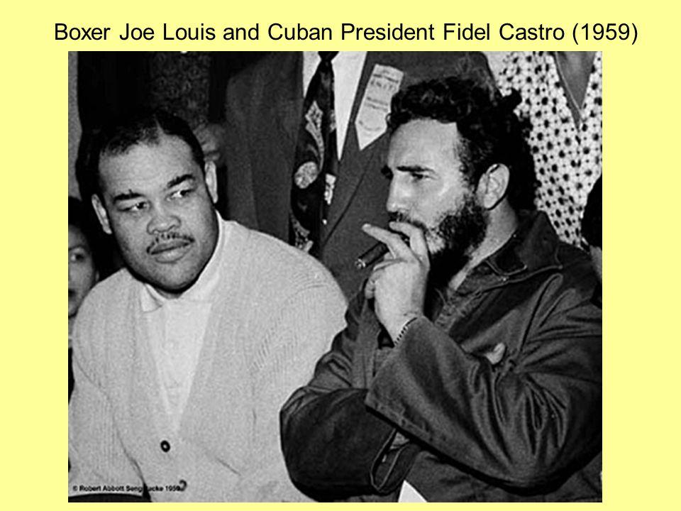Boxer Joe Louis and Cuban President Fidel Castro (1959)