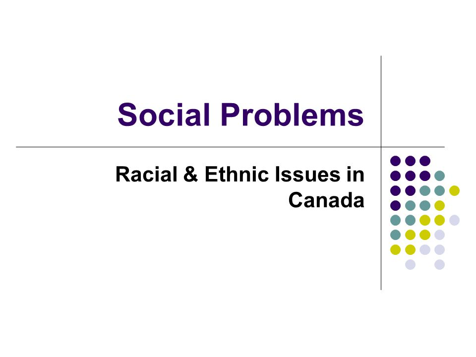 Social Problems Racial & Ethnic Issues in Canada