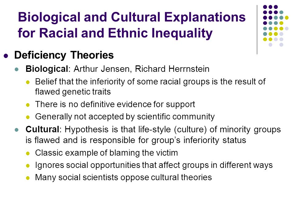 Biological and Cultural Explanations for Racial and Ethnic Inequality Deficiency Theories Biological: Arthur Jensen, Richard Herrnstein Belief that th