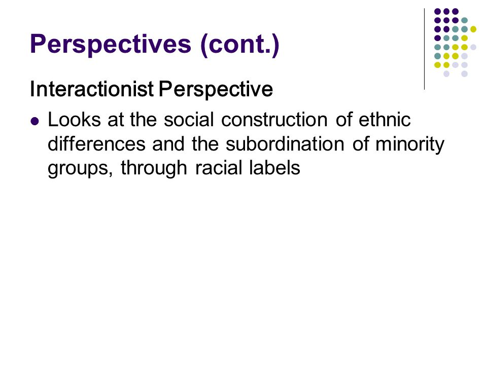 Perspectives (cont.) Interactionist Perspective Looks at the social construction of ethnic differences and the subordination of minority groups, throu