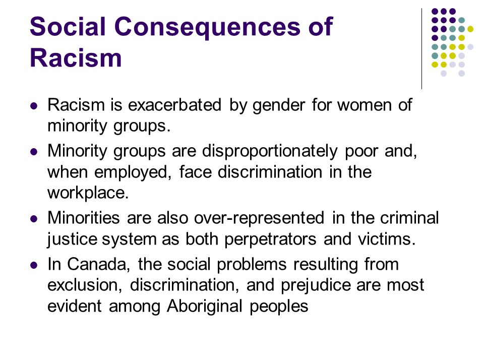 Social Consequences of Racism Racism is exacerbated by gender for women of minority groups. Minority groups are disproportionately poor and, when empl