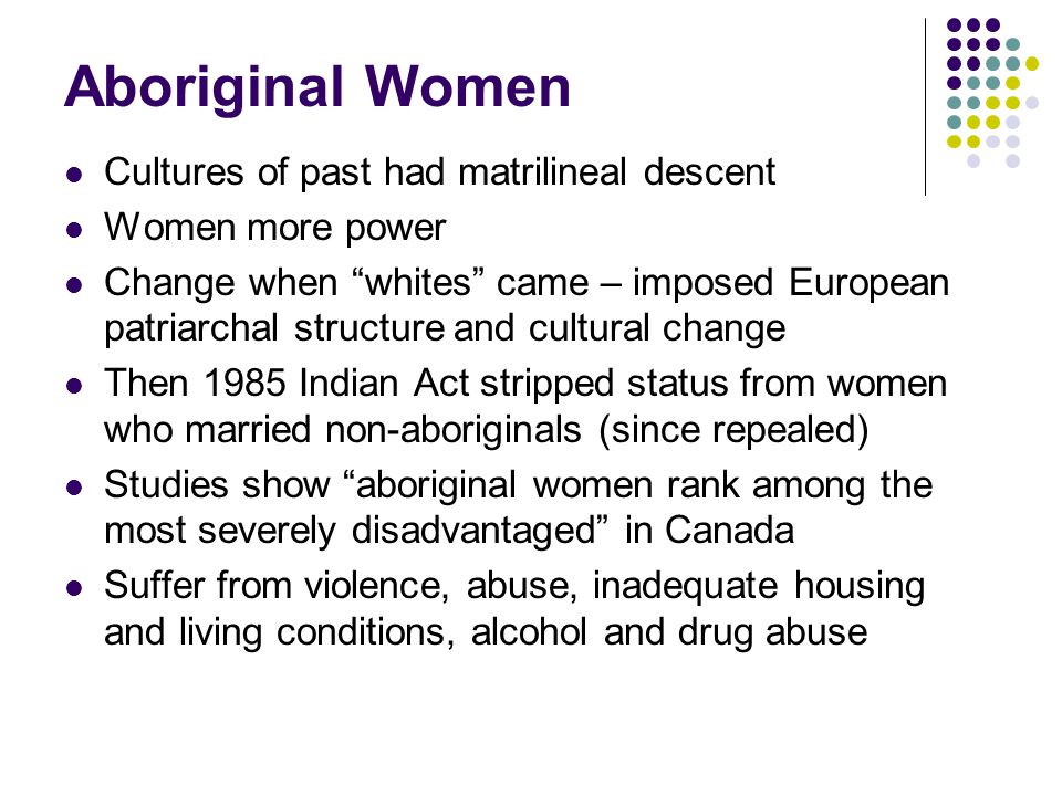 """Aboriginal Women Cultures of past had matrilineal descent Women more power Change when """"whites"""" came – imposed European patriarchal structure and cult"""