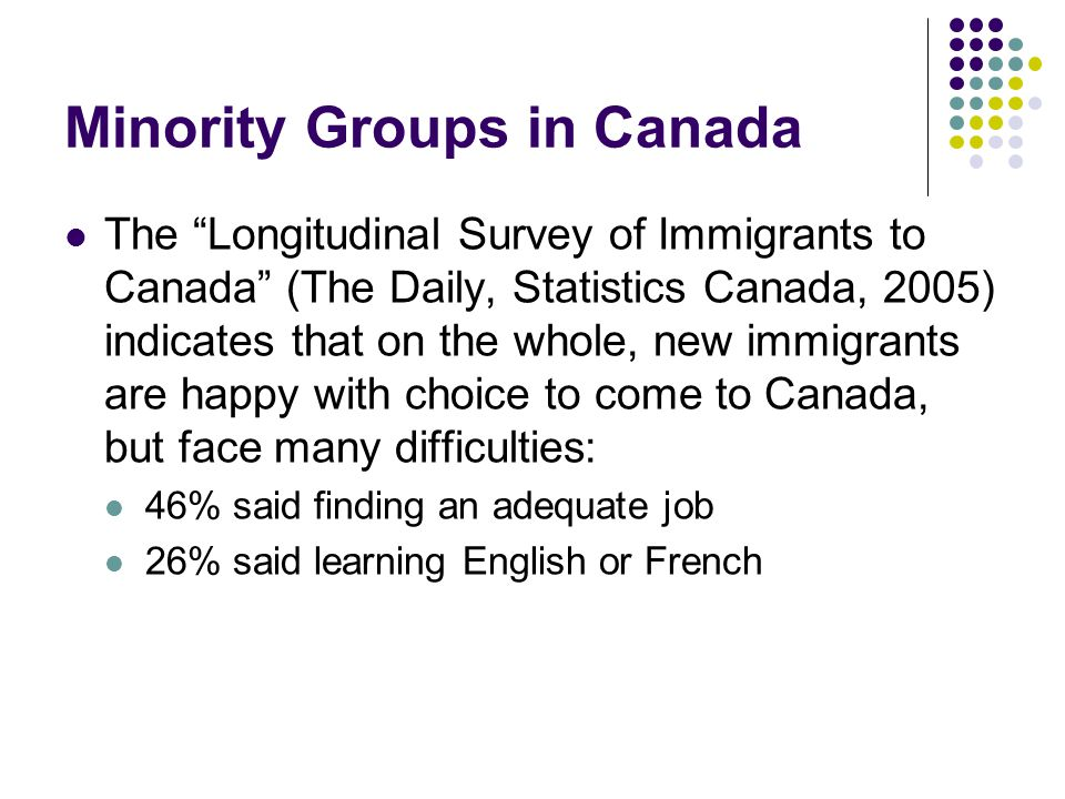 """Minority Groups in Canada The """"Longitudinal Survey of Immigrants to Canada"""" (The Daily, Statistics Canada, 2005) indicates that on the whole, new immi"""