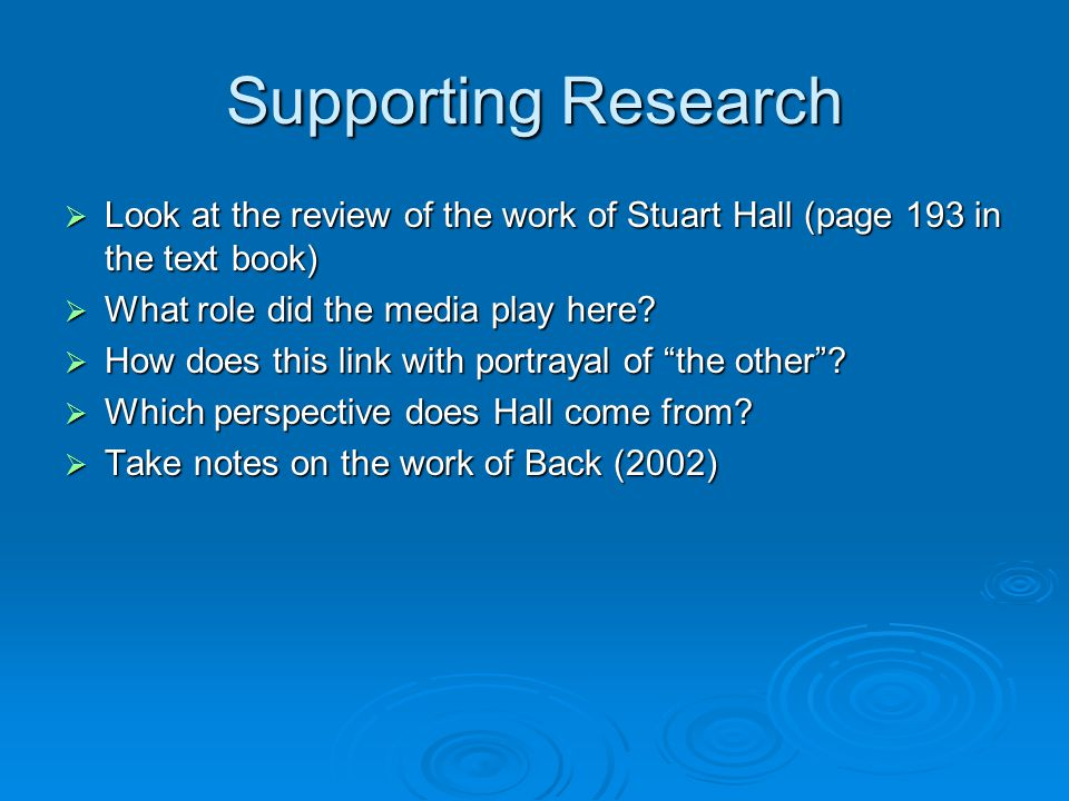 Supporting Research  Look at the review of the work of Stuart Hall (page 193 in the text book)  What role did the media play here?  How does this l