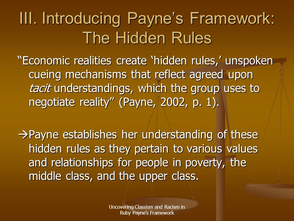 """Uncovering Classism and Racism in Ruby Payne's Framework III. Introducing Payne's Framework: The Hidden Rules """"Economic realities create 'hidden rules"""