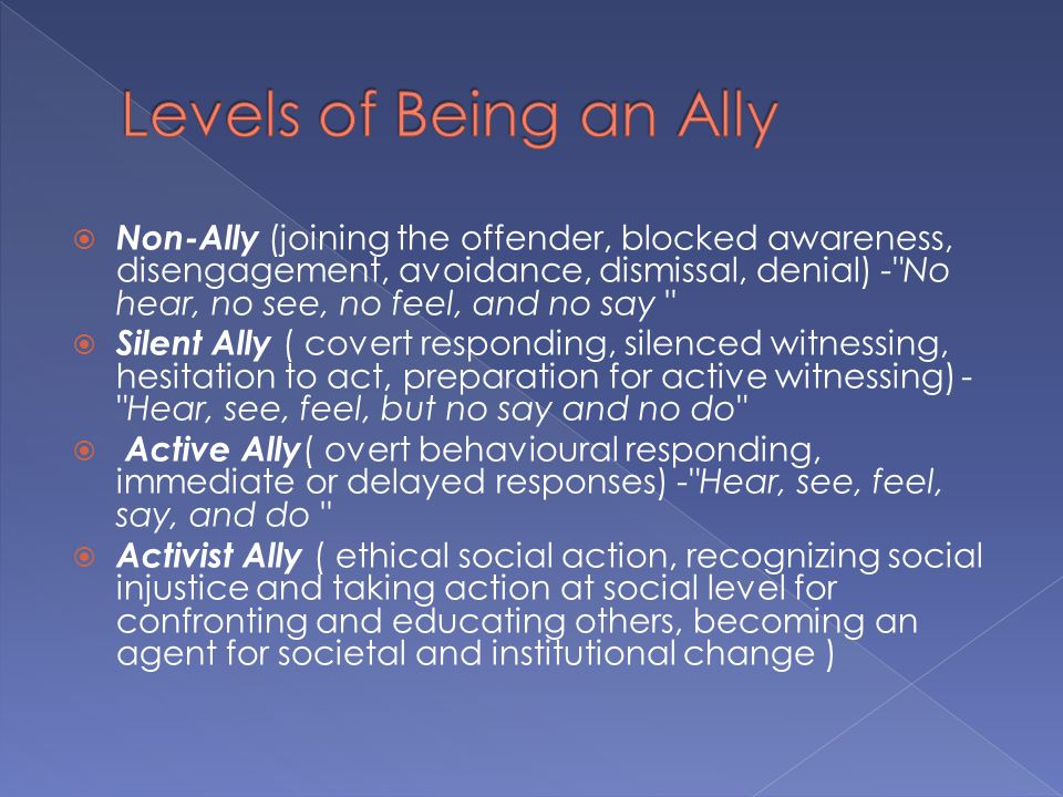  Non-Ally (joining the offender, blocked awareness, disengagement, avoidance, dismissal, denial) -