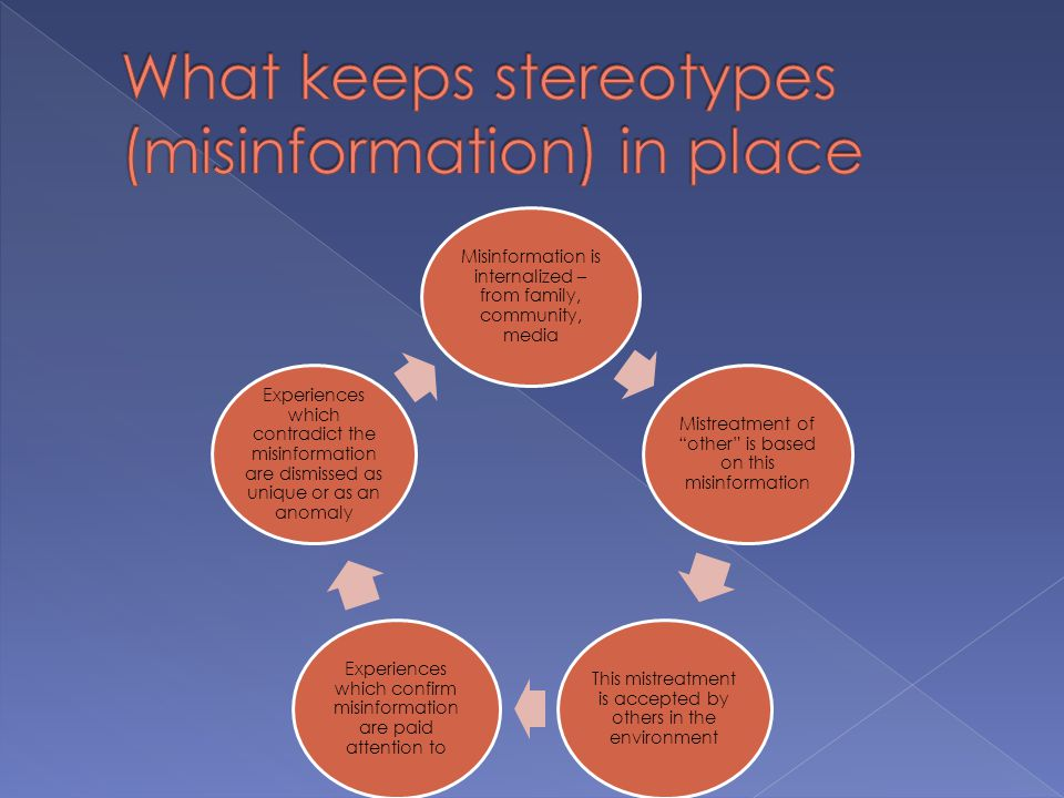 "Misinformation is internalized – from family, community, media Mistreatment of ""other"" is based on this misinformation This mistreatment is accepted b"