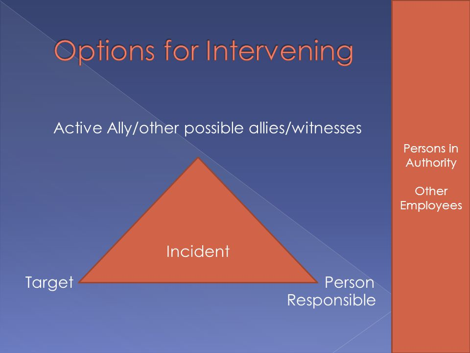 Active Ally/other possible allies/witnesses Target Person Responsible Incident Persons in Authority Other Employees