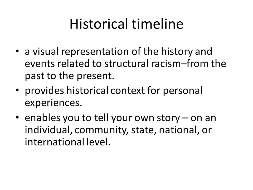 Historical timeline a visual representation of the history and events related to structural racism–from the past to the present.