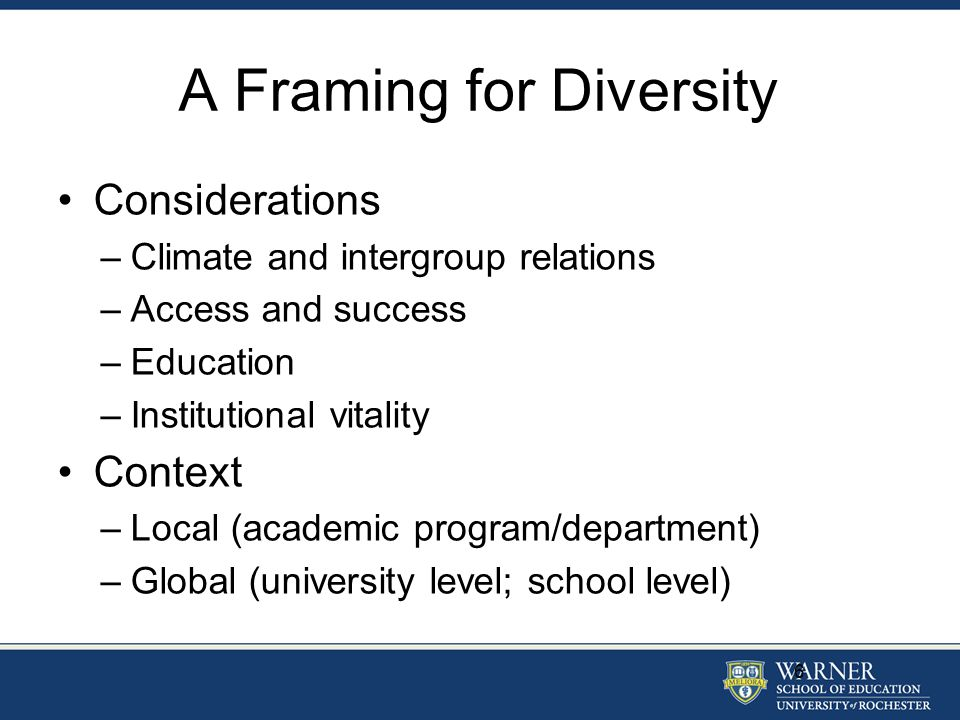 A Framing for Diversity Considerations –Climate and intergroup relations –Access and success –Education –Institutional vitality Context –Local (academ