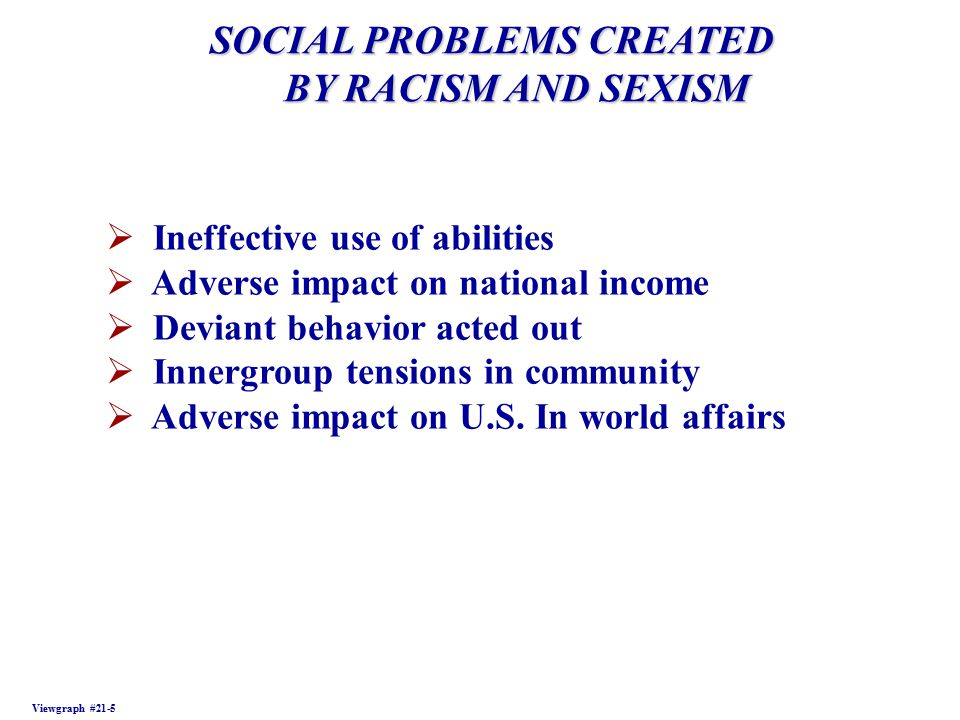 SOCIAL PROBLEMS CREATED BY RACISM AND SEXISM BY RACISM AND SEXISM Viewgraph #21-5  Ineffective use of abilities  Adverse impact on national income  Deviant behavior acted out  Innergroup tensions in community  Adverse impact on U.S.