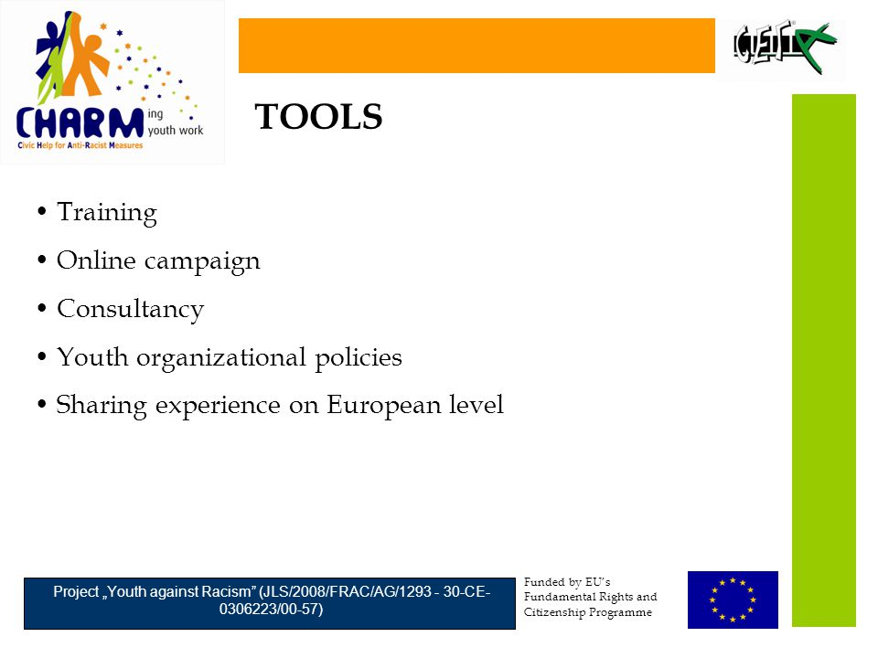 "Funded by EU's Fundamental Rights and Citizenship Programme Project ""Youth against Racism (JLS/2008/FRAC/AG/1293 - 30-CE- 0306223/00-57) Training Online campaign Consultancy Youth organizational policies Sharing experience on European level TOOLS"