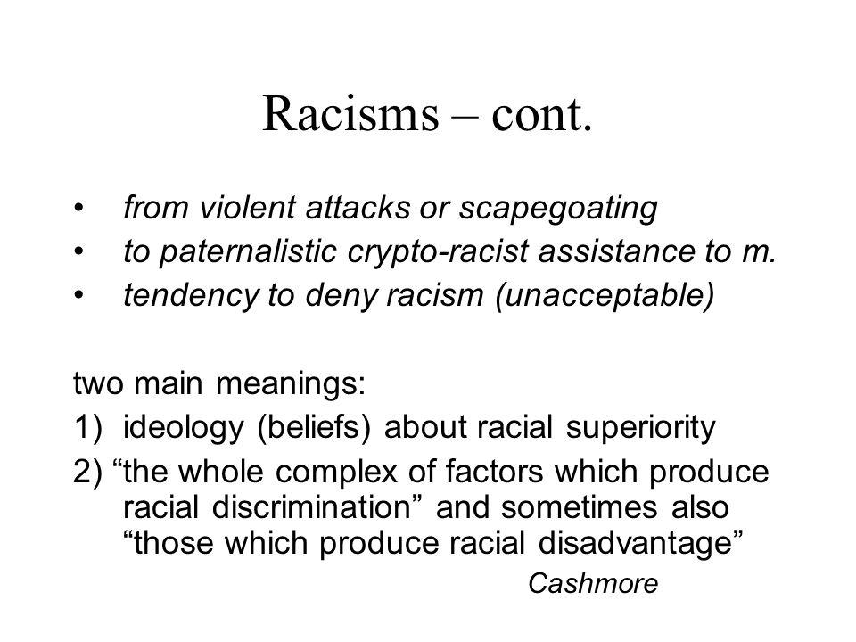 Racisms – cont.