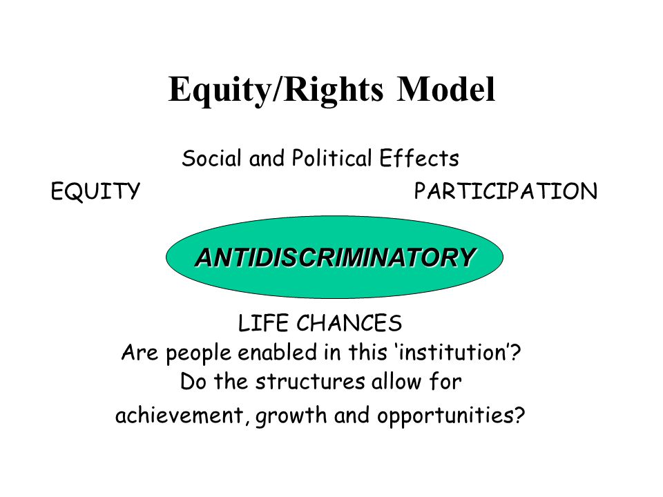 Equity/Rights Model Social and Political Effects EQUITY PARTICIPATION ANTIDISCRIMINATORY LIFE CHANCES Are people enabled in this 'institution'.