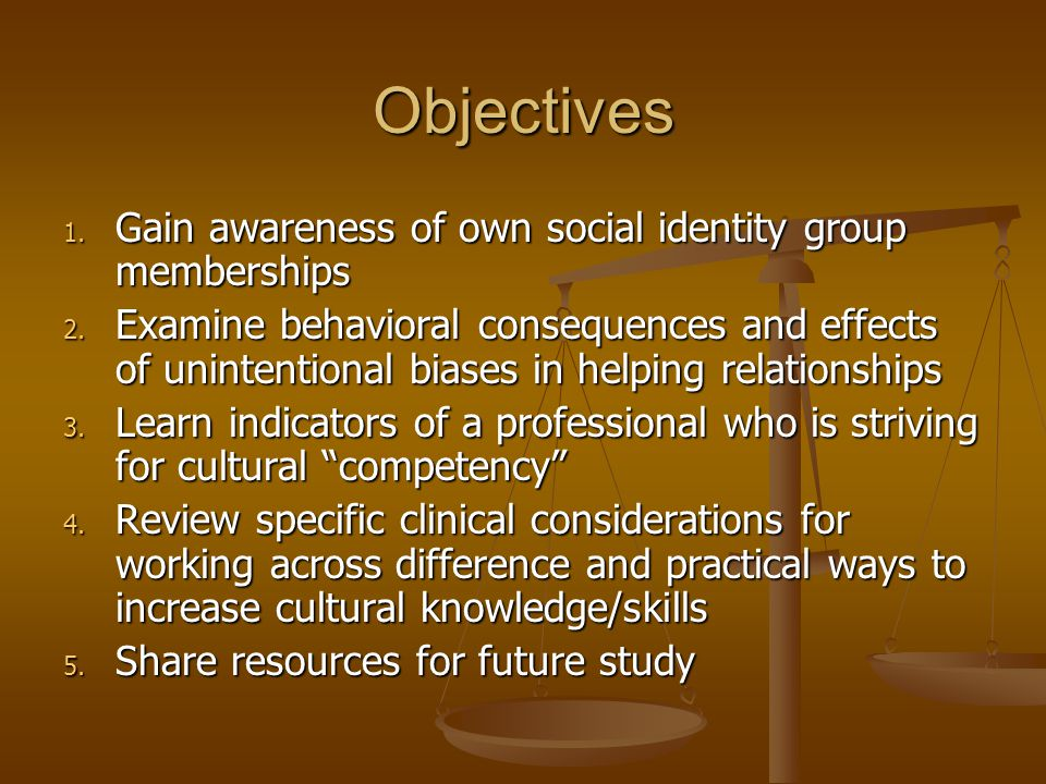 Objectives 1. Gain awareness of own social identity group memberships 2. Examine behavioral consequences and effects of unintentional biases in helpin