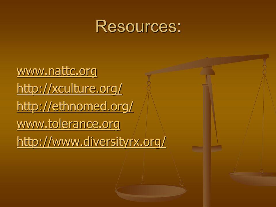 Resources: www.nattc.org http://xculture.org/ http://ethnomed.org/ www.tolerance.org http://www.diversityrx.org/