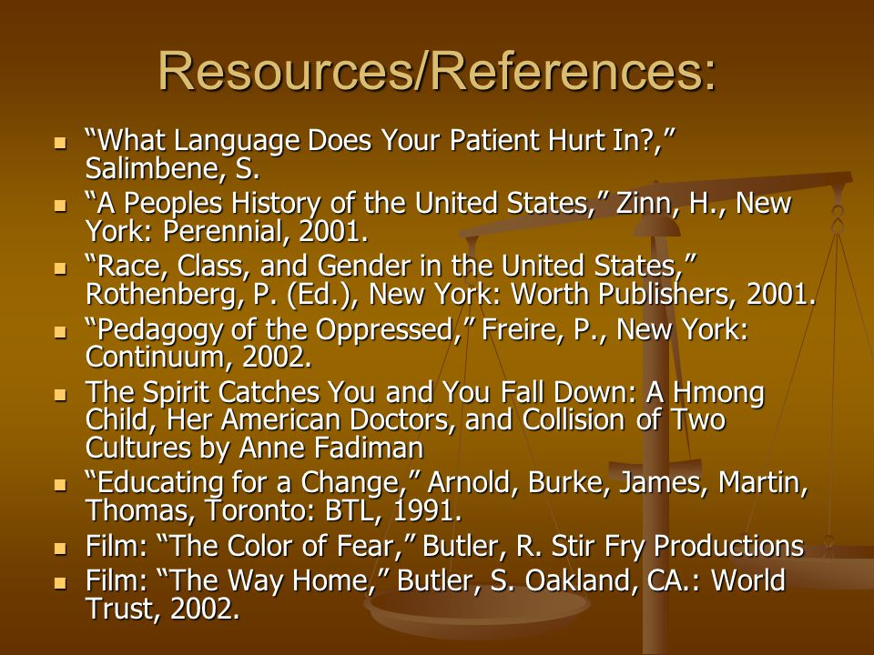 "Resources/References: ""What Language Does Your Patient Hurt In?,"" Salimbene, S. ""What Language Does Your Patient Hurt In?,"" Salimbene, S. ""A Peoples H"
