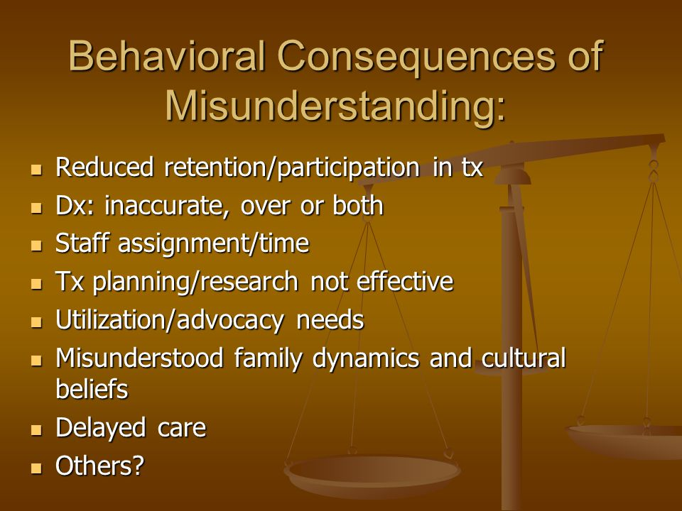 Behavioral Consequences of Misunderstanding: Reduced retention/participation in tx Reduced retention/participation in tx Dx: inaccurate, over or both