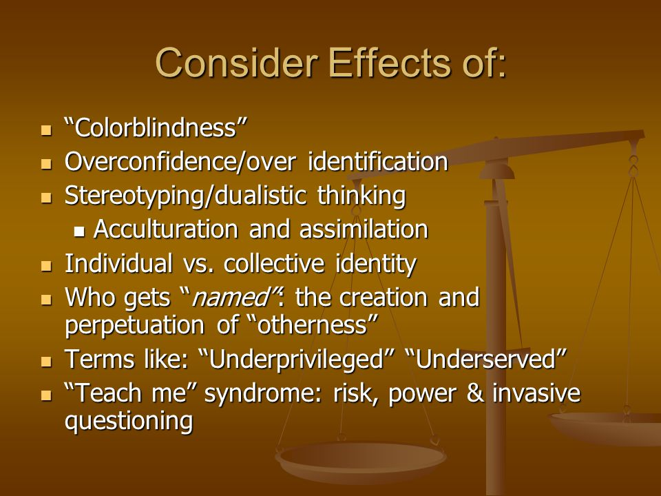 """Colorblindness"" ""Colorblindness"" Overconfidence/over identification Overconfidence/over identification Stereotyping/dualistic thinking Stereotyping/d"