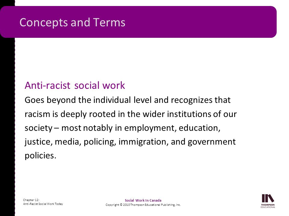 - - - - - - - - - - - - - - - - - - - - - - - - - - - - - - - - - - - - - - - - - - - - - - - - - - - - - Chapter 12: Anti-Racist Social Work Today So