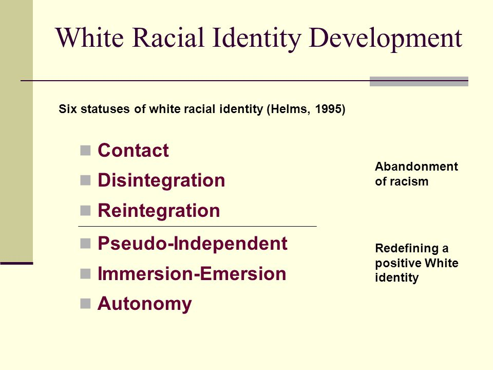 White Racial Identity Development Contact Disintegration Reintegration Pseudo-Independent Immersion-Emersion Autonomy Six statuses of white racial ide