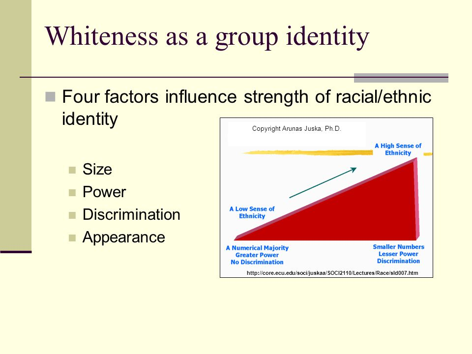 Whiteness as a group identity Four factors influence strength of racial/ethnic identity Size Power Discrimination Appearance Copyright Arunas Juska, P