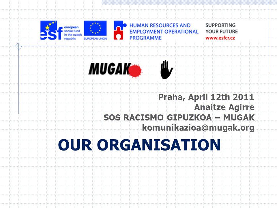 Praha, April 12th 2011 Anaitze Agirre SOS RACISMO GIPUZKOA – MUGAK komunikazioa@mugak.org OUR ORGANISATION