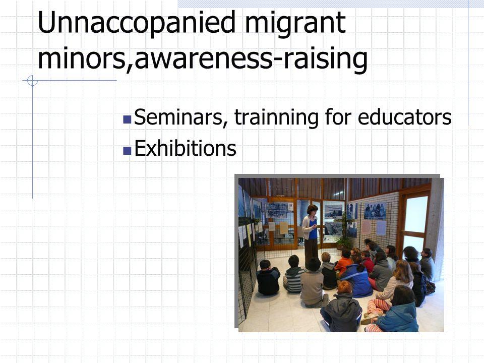 Unnaccopanied migrant minors,awareness-raising Seminars, trainning for educators Exhibitions