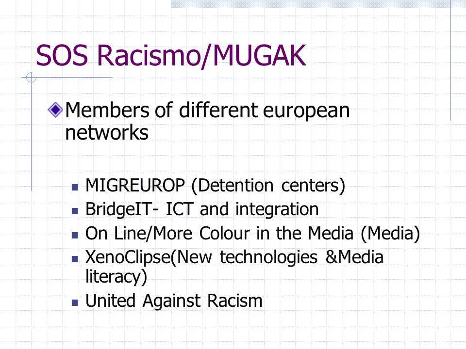 SOS Racismo/MUGAK Members of different european networks MIGREUROP (Detention centers) BridgeIT- ICT and integration On Line/More Colour in the Media (Media) XenoClipse(New technologies &Media literacy) United Against Racism