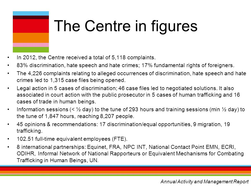 The Centre in figures In 2012, the Centre received a total of 5,118 complaints. 83% discrimination, hate speech and hate crimes; 17% fundamental right