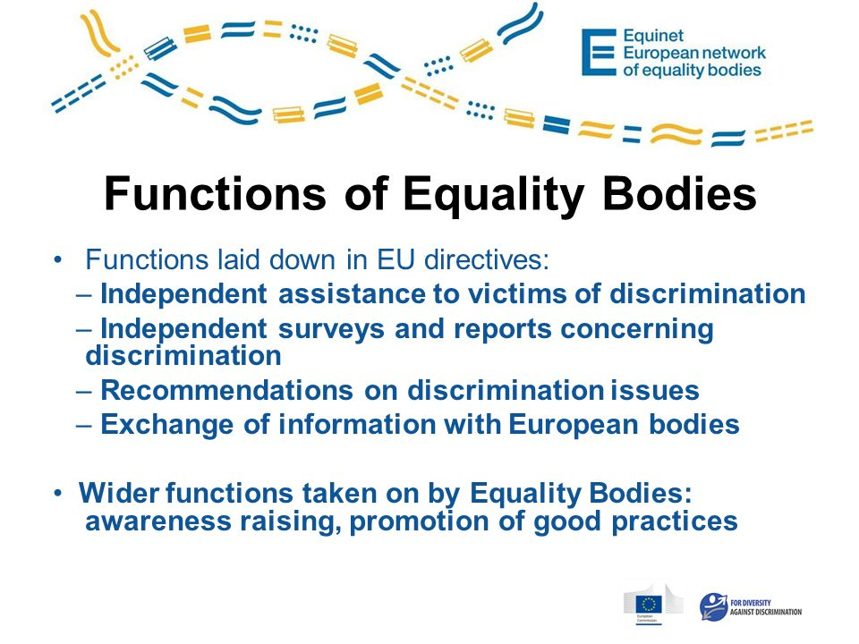 Functions of Equality Bodies Functions laid down in EU directives: – Independent assistance to victims of discrimination – Independent surveys and reports concerning discrimination – Recommendations on discrimination issues – Exchange of information with European bodies Wider functions taken on by Equality Bodies: awareness raising, promotion of good practices