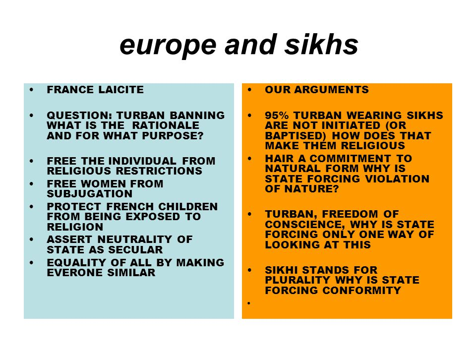 europe and sikhs FRANCE LAICITE QUESTION: TURBAN BANNING WHAT IS THE RATIONALE AND FOR WHAT PURPOSE.