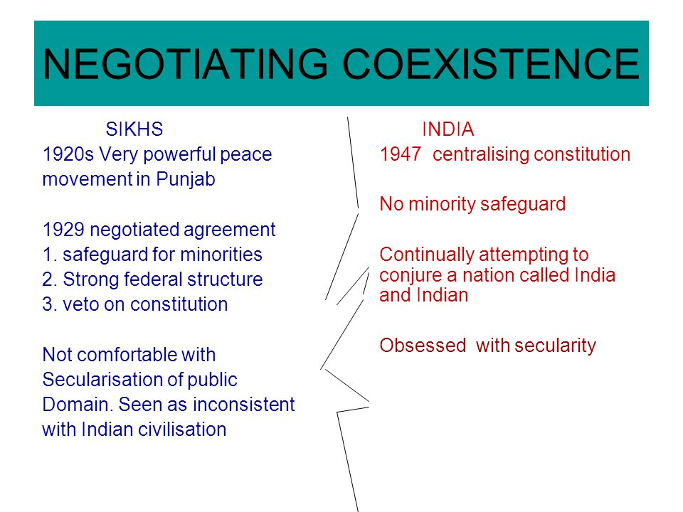 NEGOTIATING COEXISTENCE SIKHS 1920s Very powerful peace movement in Punjab 1929 negotiated agreement 1. safeguard for minorities 2. Strong federal str