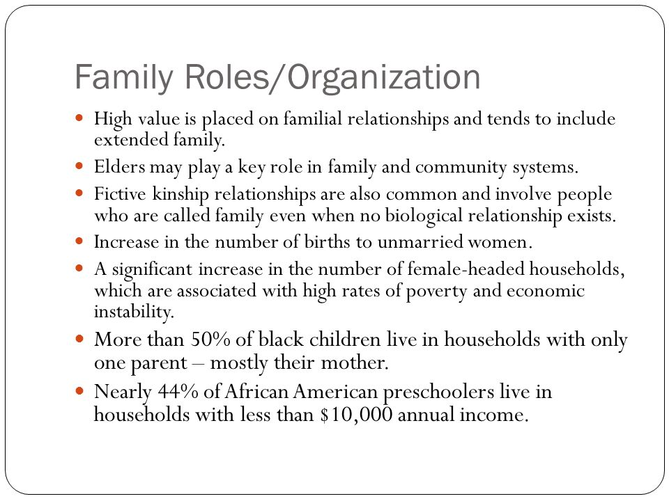 Family Roles/Organization High value is placed on familial relationships and tends to include extended family. Elders may play a key role in family an