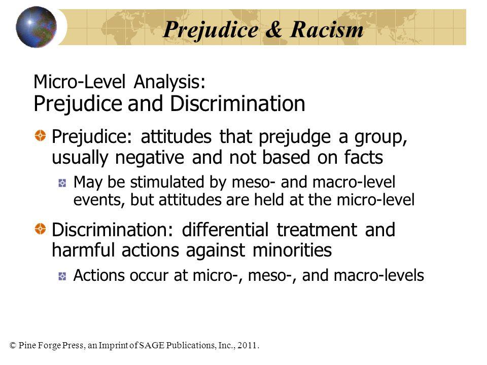© Pine Forge Press, an Imprint of SAGE Publications, Inc., 2011. Micro-Level Analysis: Prejudice and Discrimination Prejudice: attitudes that prejudge