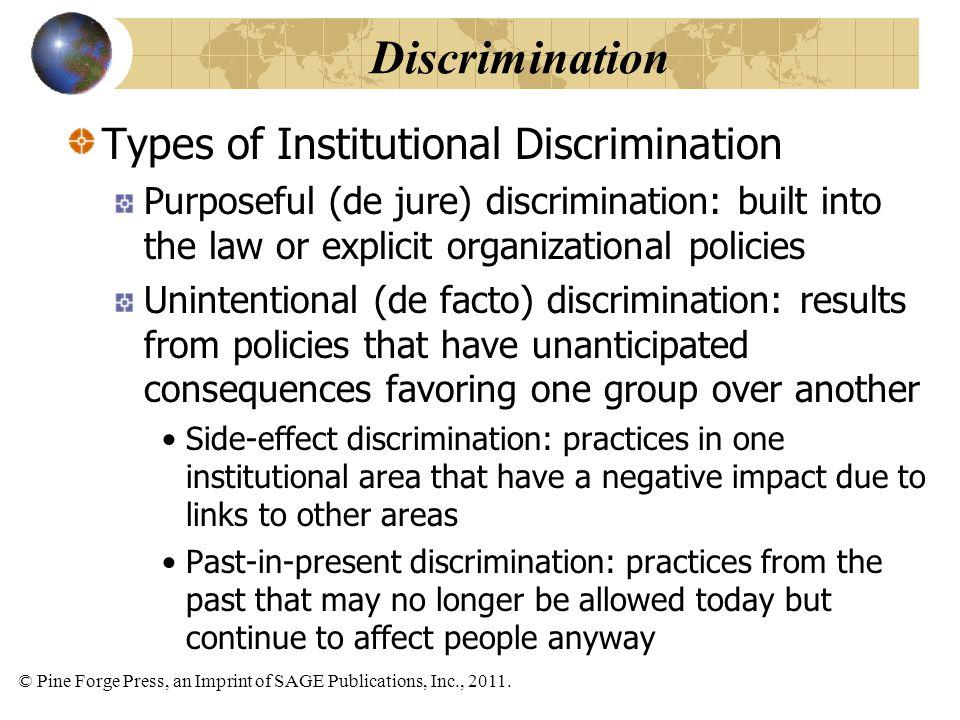 © Pine Forge Press, an Imprint of SAGE Publications, Inc., 2011. Types of Institutional Discrimination Purposeful (de jure) discrimination: built into