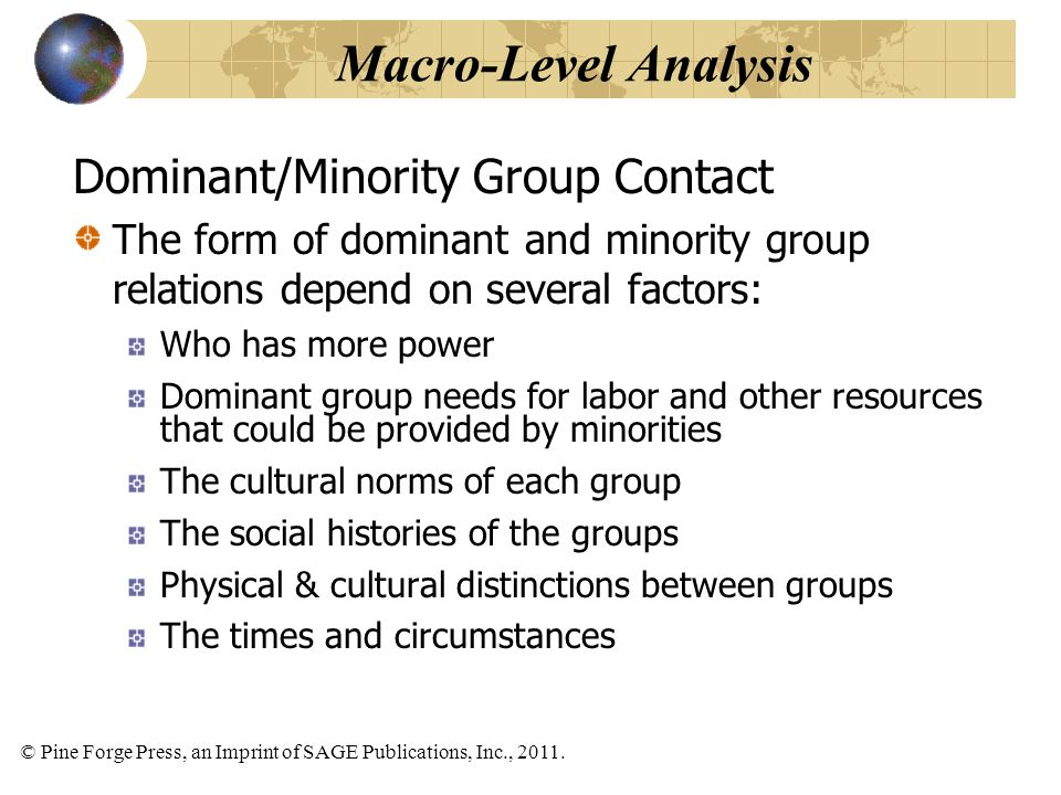 © Pine Forge Press, an Imprint of SAGE Publications, Inc., 2011. Dominant/Minority Group Contact The form of dominant and minority group relations dep