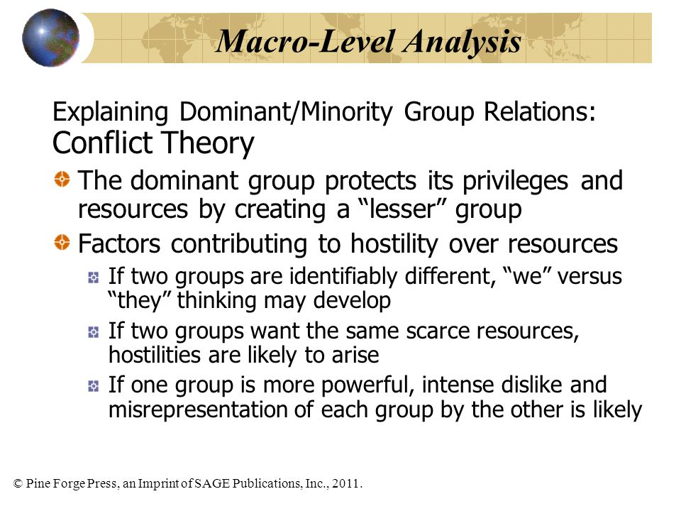 © Pine Forge Press, an Imprint of SAGE Publications, Inc., 2011. Explaining Dominant/Minority Group Relations: Conflict Theory The dominant group prot