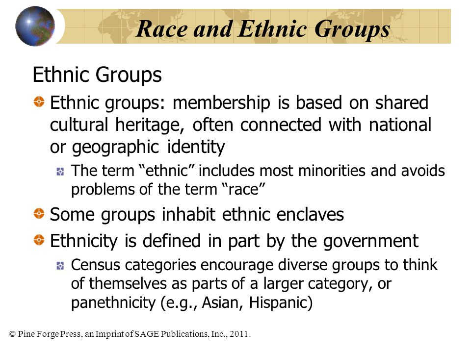 © Pine Forge Press, an Imprint of SAGE Publications, Inc., 2011. Ethnic Groups Ethnic groups: membership is based on shared cultural heritage, often c